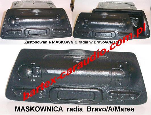 Fiat BRAVA/O+MAREA maskownica-zasłona na radio 1DIN