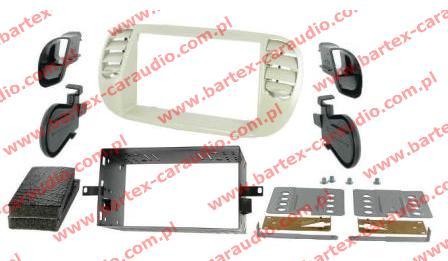 Fiat 500 2007-> ramka BEŻOWA #2 +półkieszeń pod radio 2DIN
