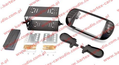 Fiat 500 2007-> ramka CZARNA #2 +półkieszeń pod radio 2DIN