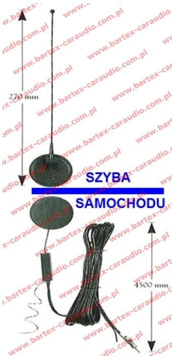 Antena ze wzmacniaczem przyklejana do szyby indukcyjna