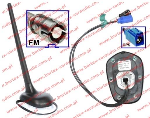 Antena na dach tył do SKODA 2000-> +inne ze wzmac. FM/AM+GPS