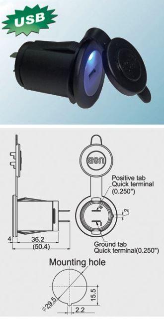 Zasilacz Ładowarka USBx1 montażowa 12V->5V/2.1A