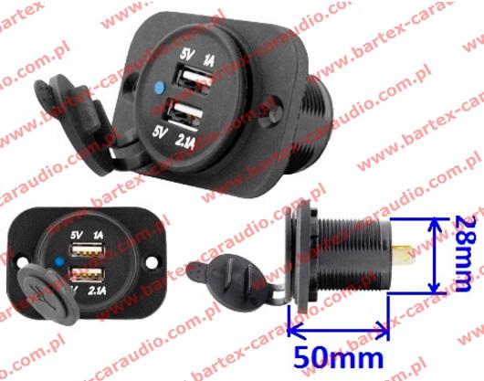Zasilacz Ładowarka USBx2 montażowa 12+24V->5V/3.1A