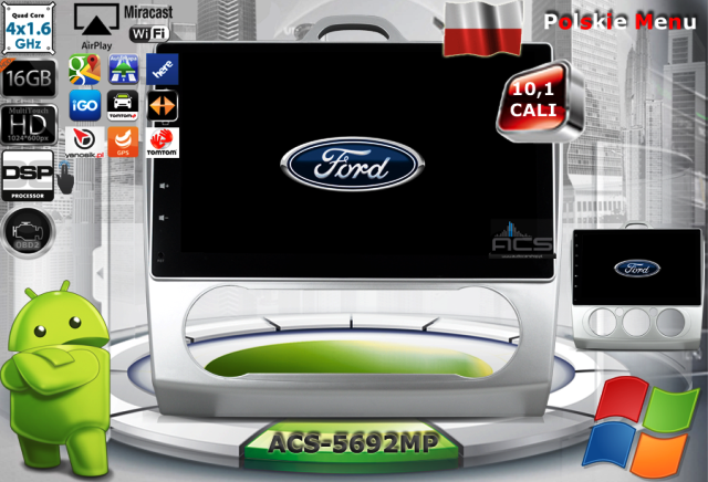 ACS Nawigacja do FORD Focus-2 2005-2012 z ANDROID +LCD-10,1""