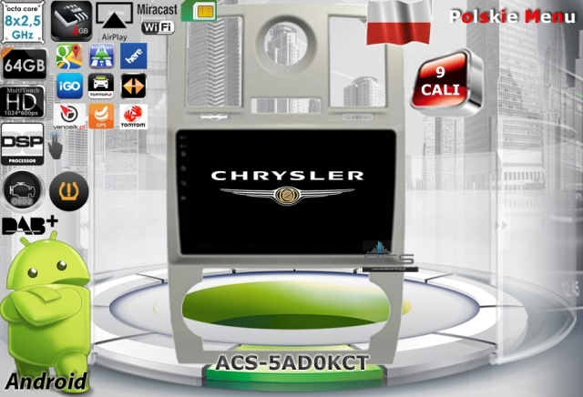 "ACS Nawigacja do CHRYSLER 300C 2005-2007 z ANDROID +LCD-9"""
