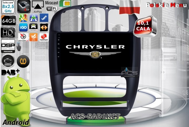 ACS Nawigacja do CHRYSLER Voyager 2001-2007 z ANDROID +LCD-10""