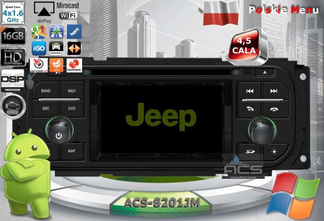 ACS Nawigacja do JEEP+Chrysler+DODGE 1998-2007 z ANDROID