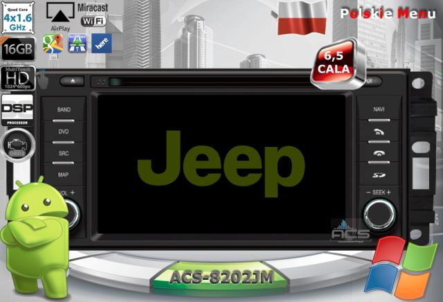 "ACS Nawigacja do JEEP+Chrysler+DODGE 2007-2011 z ANDROID +LCD-6"""