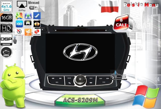 """ACS Nawigacja do Hyundai SANTA FE 2013-> z ANDROID +LCD-8"""""""