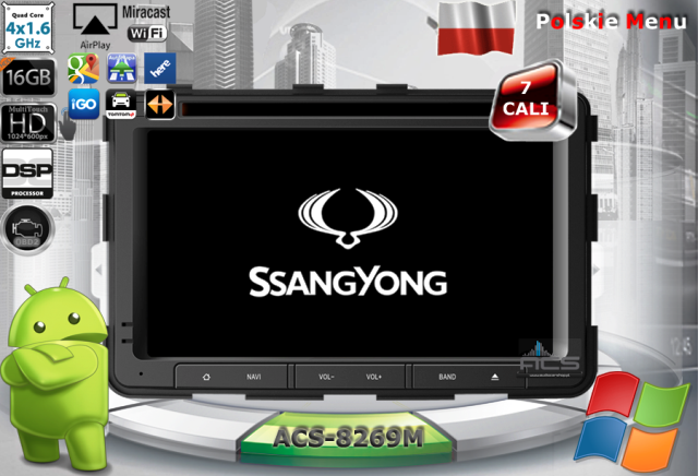 ACS Nawigacja do SsangYong REXTON 2013-> z ANDROID