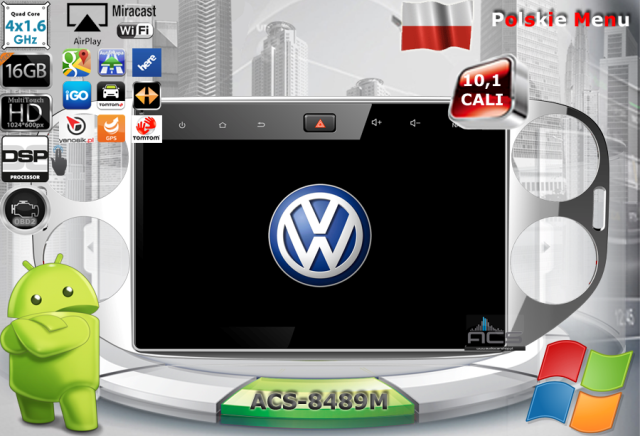 ACS Nawigacja do Volkswagen TIGUAN 2007-2015 z ANDROID +LCD-10.1
