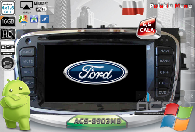 ACS Nawigacja do FORD Mondeo MkIV+S-Max+inne 2007-> z ANDROID