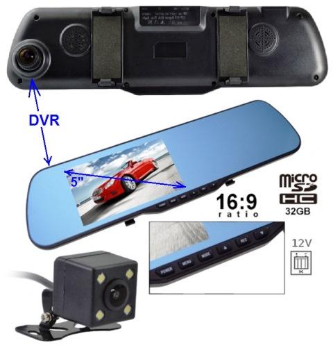 """NVOX VR-5019 monitor LCD-5"""" w lusterku + DVR-FHD +kam.cofania"""