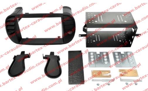Fiat 500 2007-> ramka CZARNA #3 +półkieszeń pod radio 2DIN