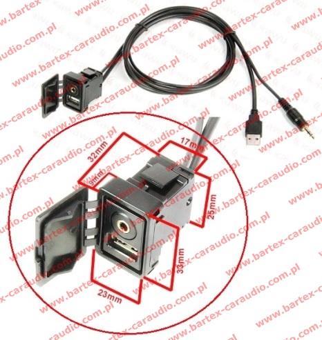 # Złącze Gniazdo USB+MiniJACK + wyk USB+MiniJACK (mod.3)