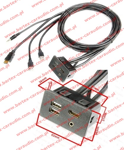 Kabel HDMI+USB+Jack-wtyk <-> HDMI+USB+Jack-gniazdo +kabel