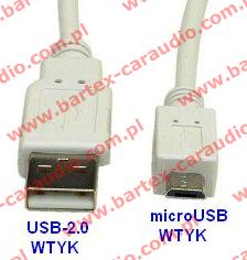 Adapter USB-wtyk <-> microUSB-wtyk +kabel 80cm