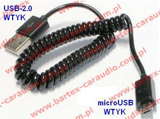 Adapter USB-wtyk <-> microUSB-wtyk +kabel spiralny