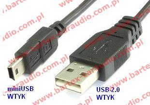 Adapter USB-wtyk <-> miniUSB-wtyk +kabel 80cm